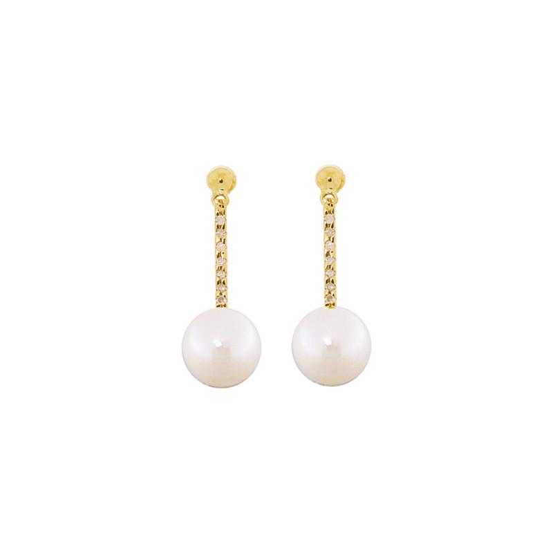 Σκουλαρίκια με λευκά μαργαριτάρια και διαμάντια σε χρυσή βάση Κ18 - G318845