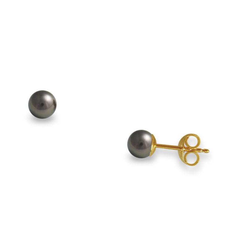 Σκουλαρίκια με μαύρα μαργαριτάρια σε χρυσή βάση Κ14 - G307005B