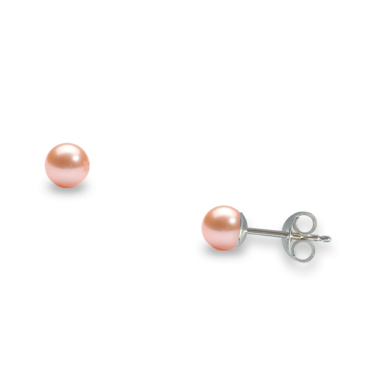Σκουλαρίκια με σομόν μαργαριτάρια σε ασημένια βάση 925 - S307005S