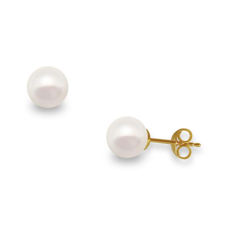 Σκουλαρίκια με λευκά μαργαριτάρια σε χρυσή βάση Κ14 - G418937