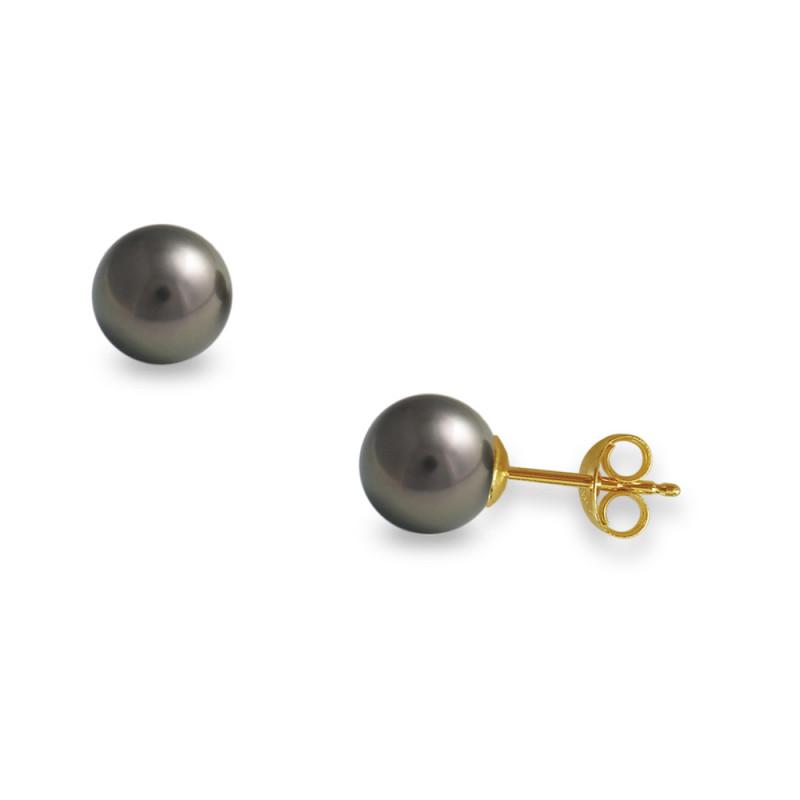 Σκουλαρίκια με μαύρα μαργαριτάρια σε χρυσή βάση Κ14 - G418936B