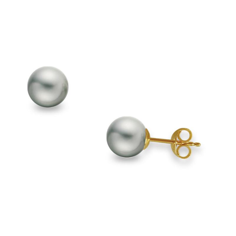 Σκουλαρίκια με γκρι μαργαριτάρια σε χρυσή βάση Κ14 - G418936G