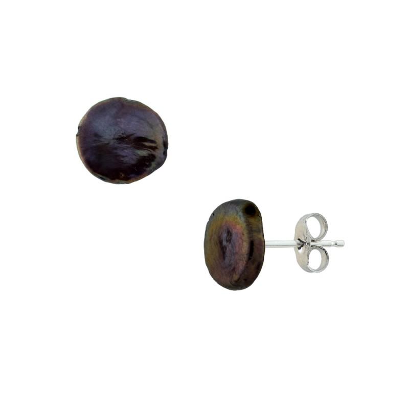 Σκουλαρίκια με μαύρα μαργαριτάρια σε ασημένια βάση 925 - S121207KB