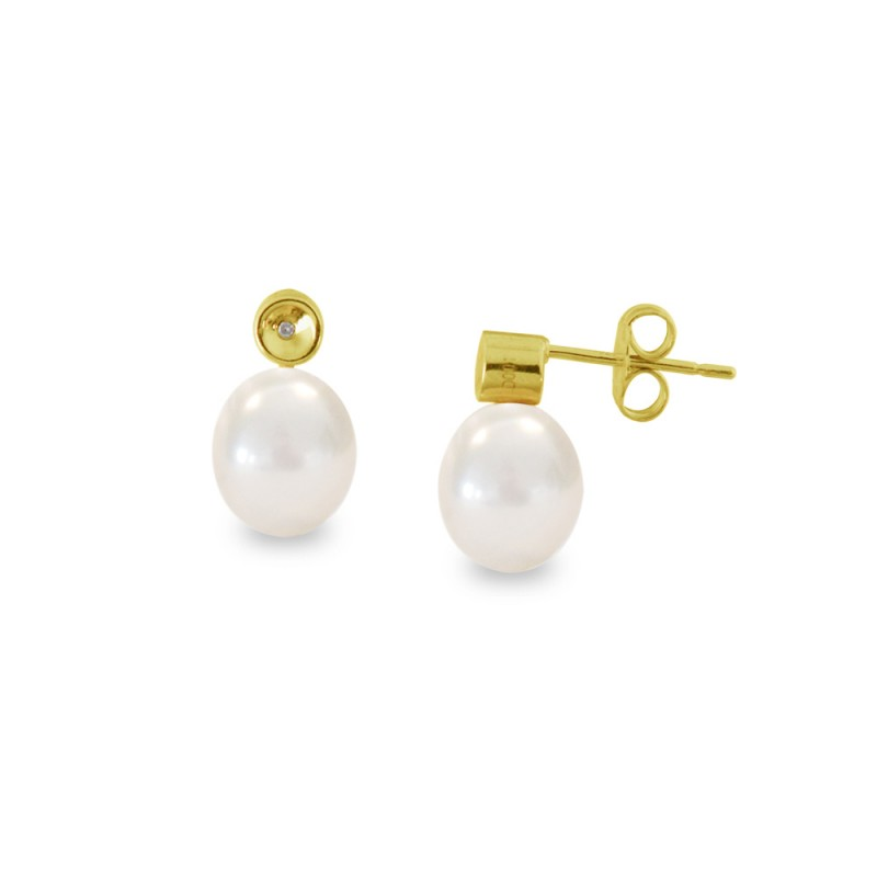 Σκουλαρίκια με λευκά μαργαριτάρια και διαμάντια σε επιχρυσωμένη βάση 925 - S121226Y