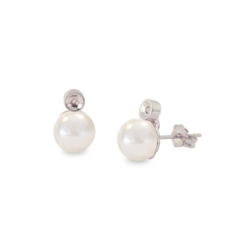 Σκουλαρίκια με λευκά μαργαριτάρια και διαμάντια σε ασημένια βάση 925 - S121227