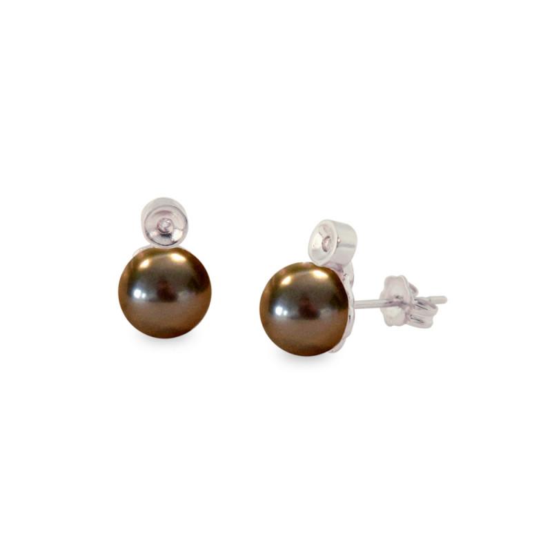 Σκουλαρίκια με μαύρα μαργαριτάρια και διαμάντια - S121227B
