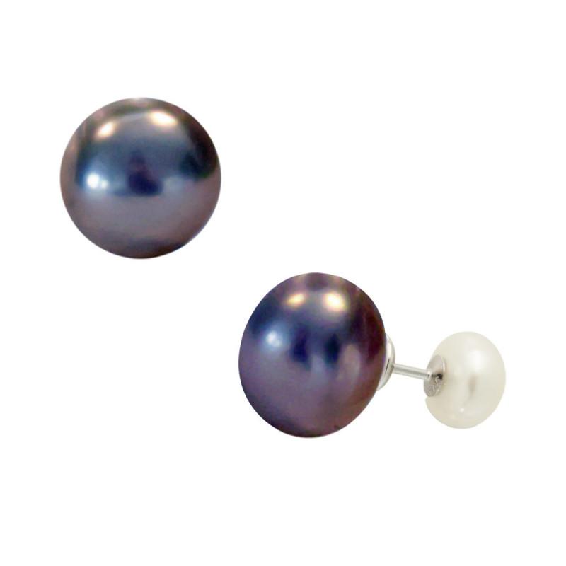 Σκουλαρίκια διπλής όψης με μαργαριτάρια σε ασημένια βάση 925 - S122355WB