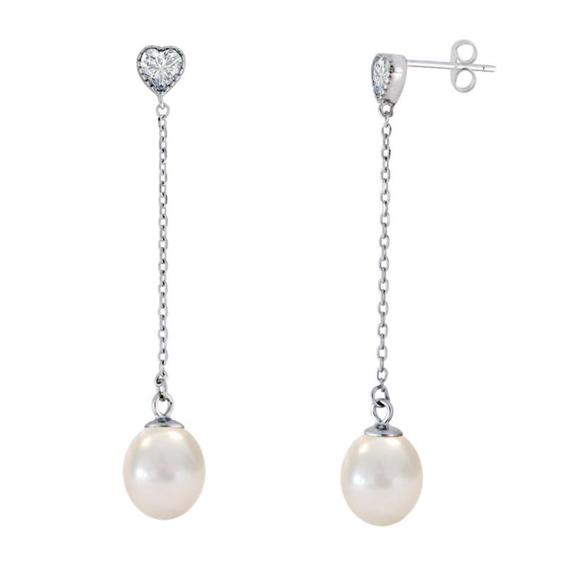 Σκουλαρίκια με μαργαριτάρια και ζιργκόν σε ασημένια βάση 925 - S123446