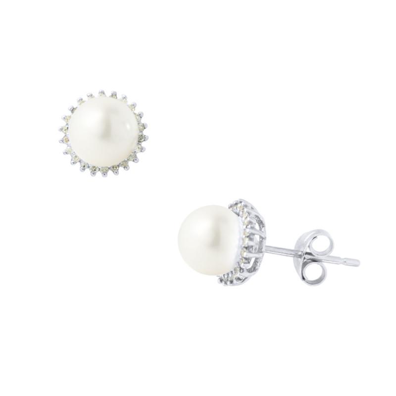 Σκουλαρίκια με λευκά μαργαριτάρια και διαμάντια σε λευκόχρυση βάση Κ18 - W317607