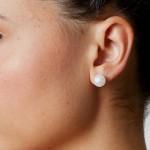Σκουλαρίκια με λευκά μαργαριτάρια σε χρυσή βάση Κ14 - G418940