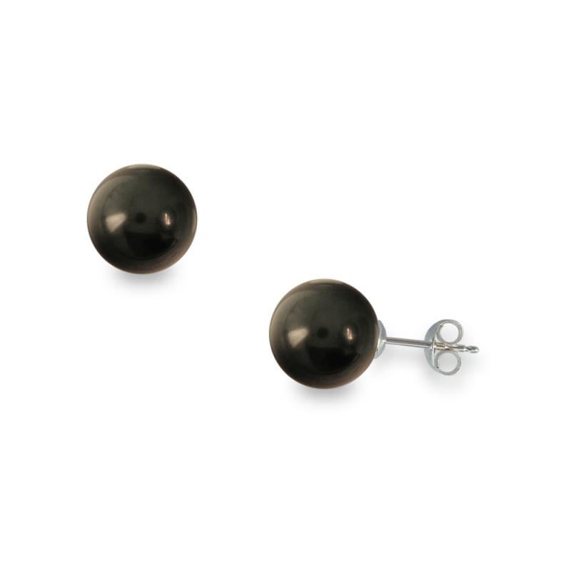 Σκουλαρίκια με μαύρα Shell Pearl σε λευκόχρυση βάση 14Κ - W314814B