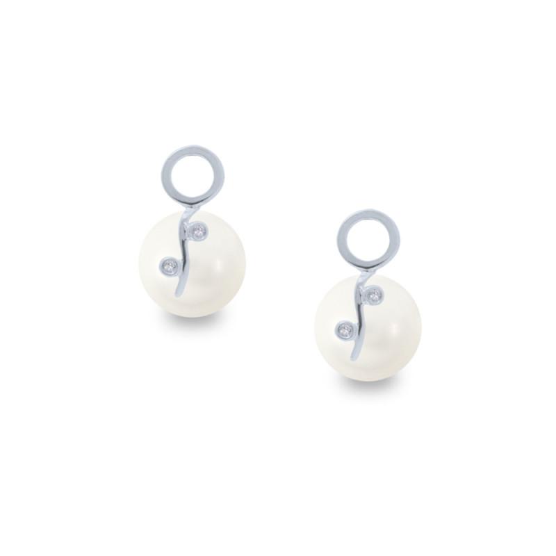 Σκουλαρίκια με λευκά Shell Pearl και διαμάντια - W319979