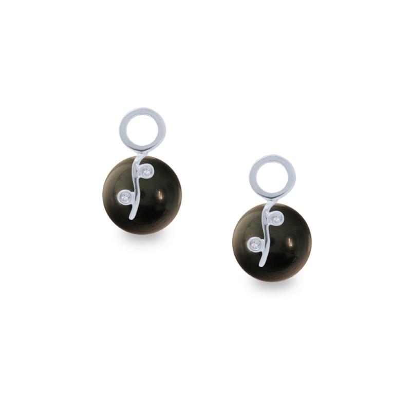 Σκουλαρίκια με μαύρα Shell Pearl και διαμάντια - W319979B