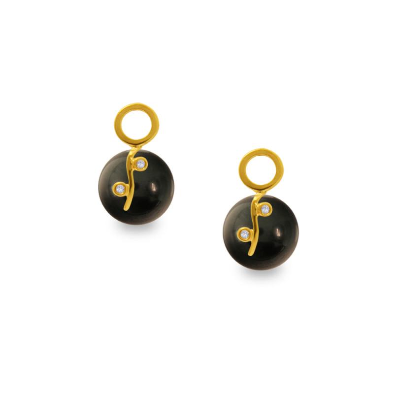 Σκουλαρίκια με μαύρα Shell Pearl και διαμάντια - G319979B