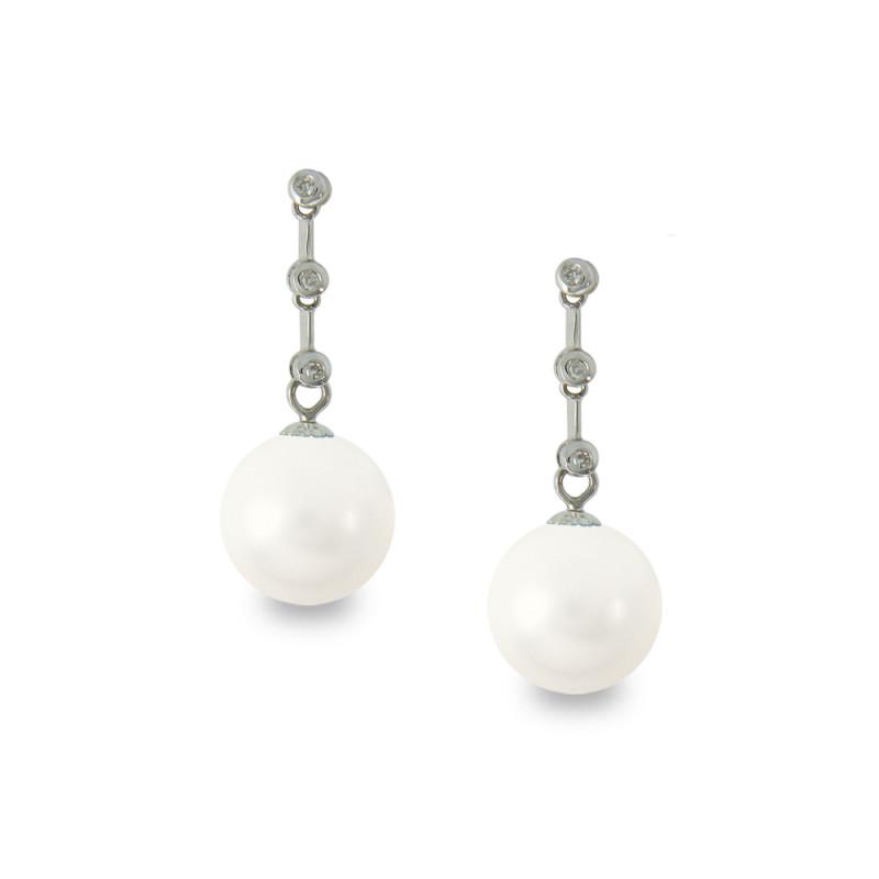 Σκουλαρίκια με λευκά Shell Pearl και διαμάντια - W319984