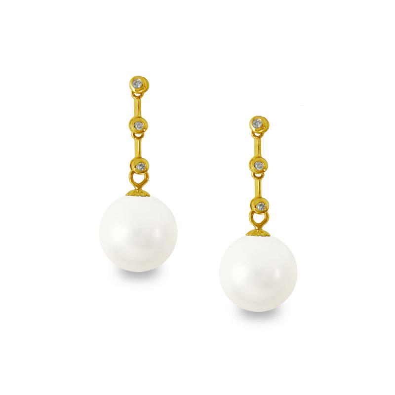 Σκουλαρίκια με λευκά Shell Pearl και διαμάντια - G319984