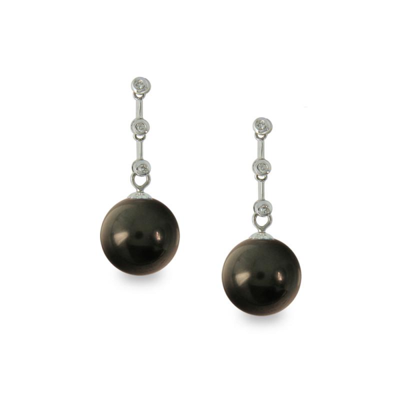Σκουλαρίκια με μαύρα Shell Pearl και διαμάντια - W319984B