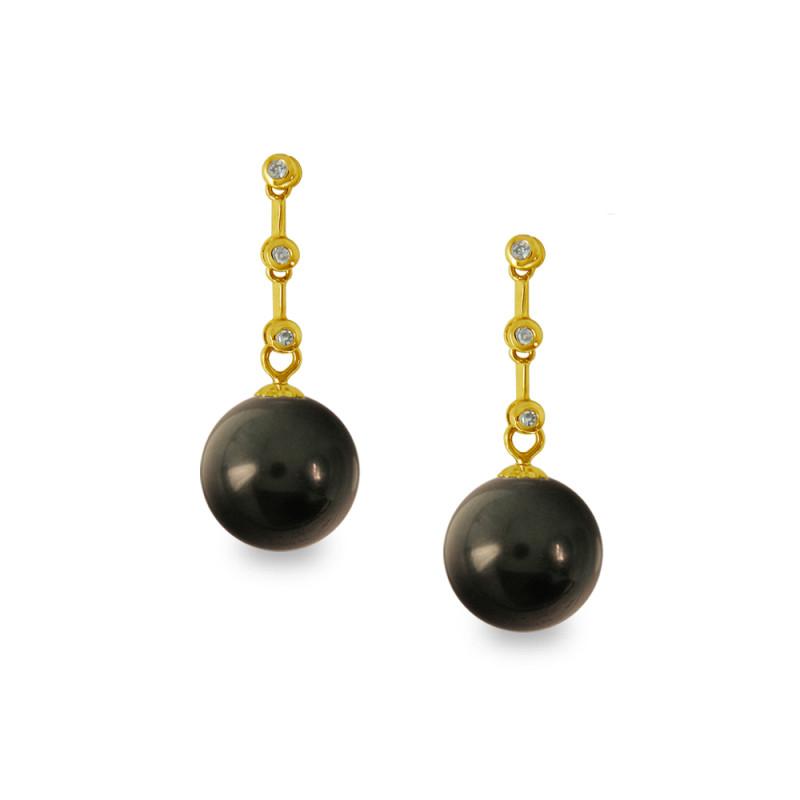 Σκουλαρίκια με μαύρα Shell Pearl και διαμάντια - G319984B