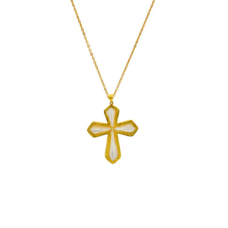 Κολιέ αλυσίδα με χρυσό σταυρό K14 - M123831