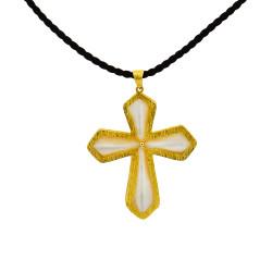 Σταυρός με λευκό SHELL και χρυσή βάση Κ14 - M310054
