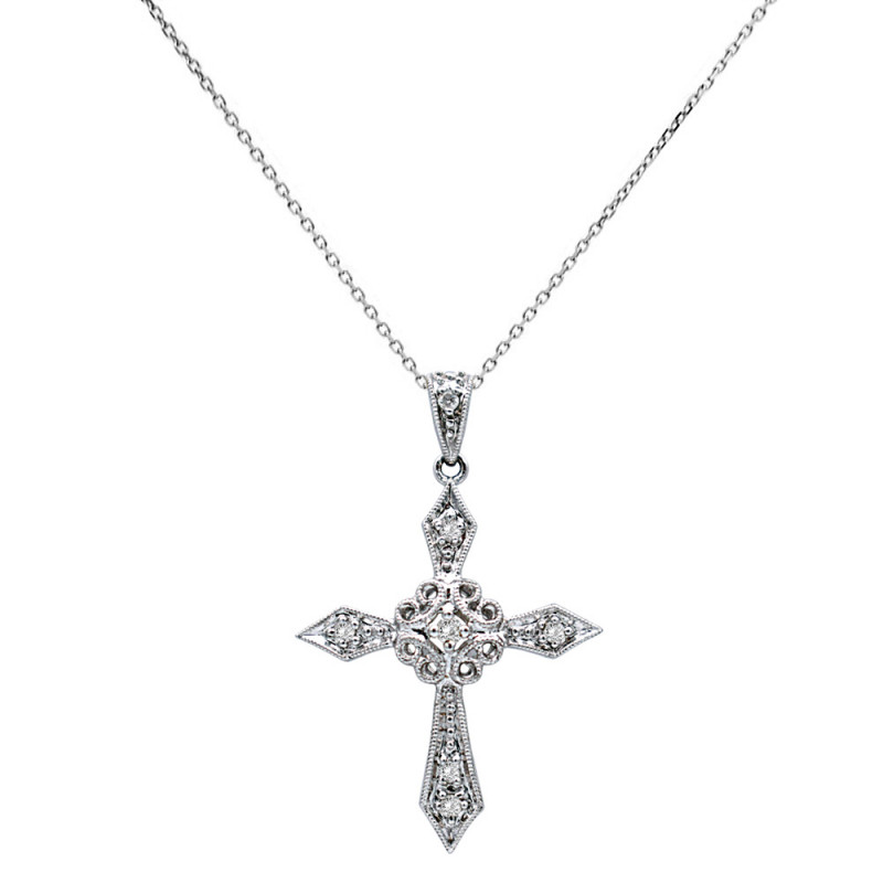 Λευκόχρυσος σταυρός με διαμάντια - M114690