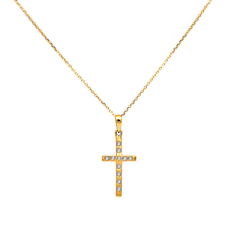 Χρυσός σταυρός με διαμάντια - M315001