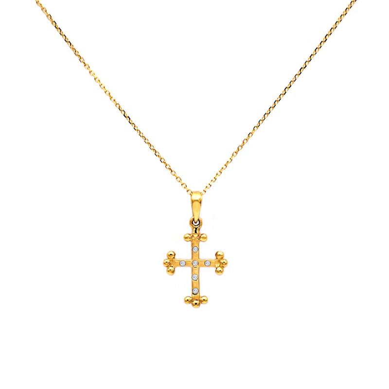 Χρυσός σταυρός με διαμάντια - M315003