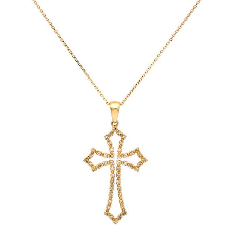 Χρυσός σταυρός με διαμάντια - M315134