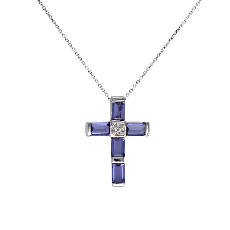 Σταυρός με Iolite και διαμάντια Κ18 - M315282
