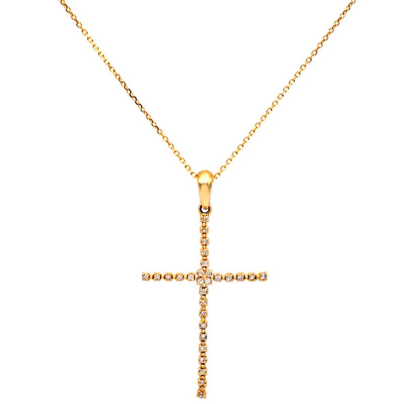 Χρυσός σταυρός με διαμάντια - M315714