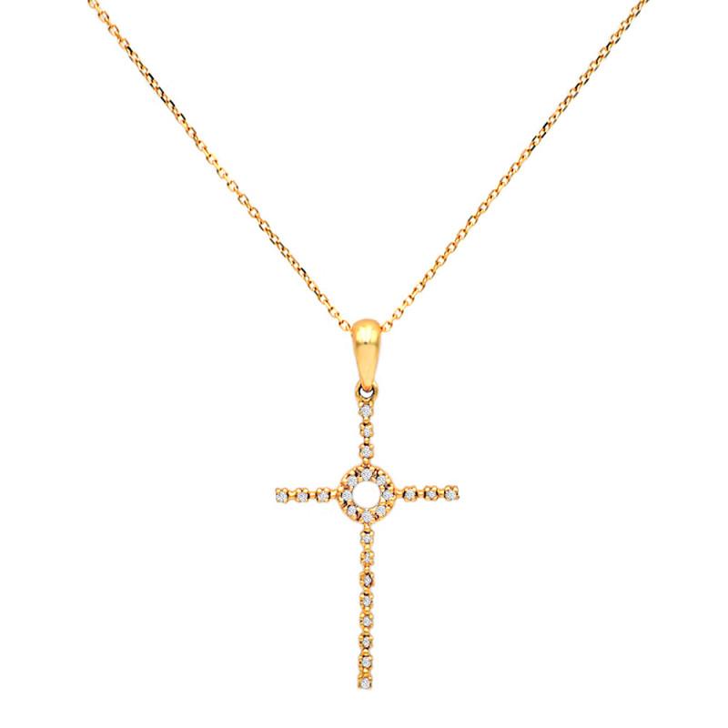 Χρυσός σταυρός με διαμάντια - M315715