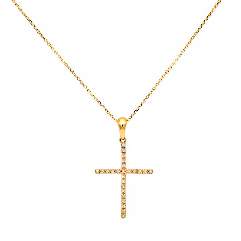 Χρυσός σταυρός με διαμάντια - M315717