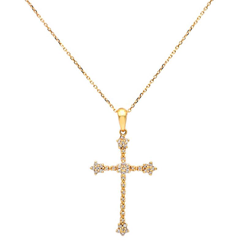 Χρυσός σταυρός με διαμάντια - M315718