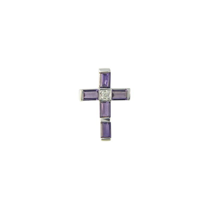 Λευκόχρυσος σταυρός με αμέθυστο και διαμάντι - M315282A