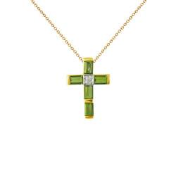 Χρυσός σταυρός με περίδοτο και διαμάντι - M315282P