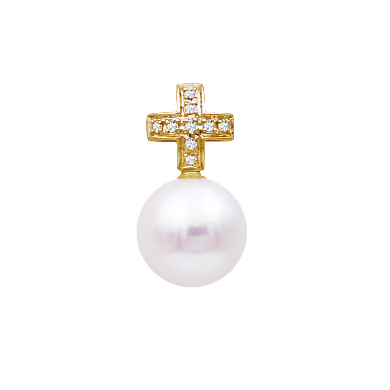 Μενταγιόν με λευκό μαργαριτάρι και χρυσή βάση 18Κ με διαμάντια - G319012