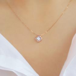 Μενταγιόν Κ18 ροζ χρυσό με διαμάντι - G123502