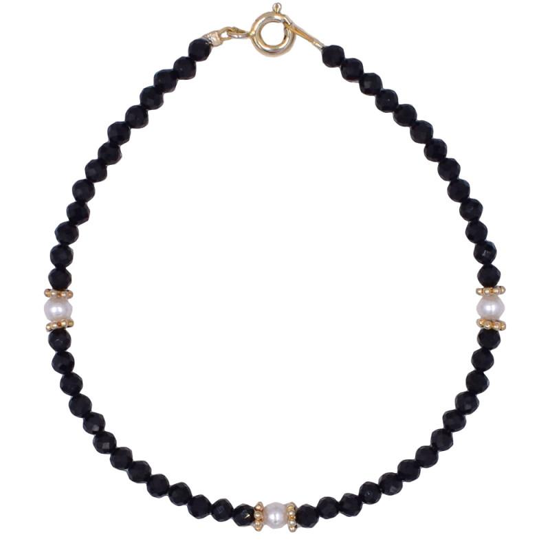 Βραχιόλι με Spinel, μαργαριτάρια και ασημένιο κούμπωμα 925 - M123905S